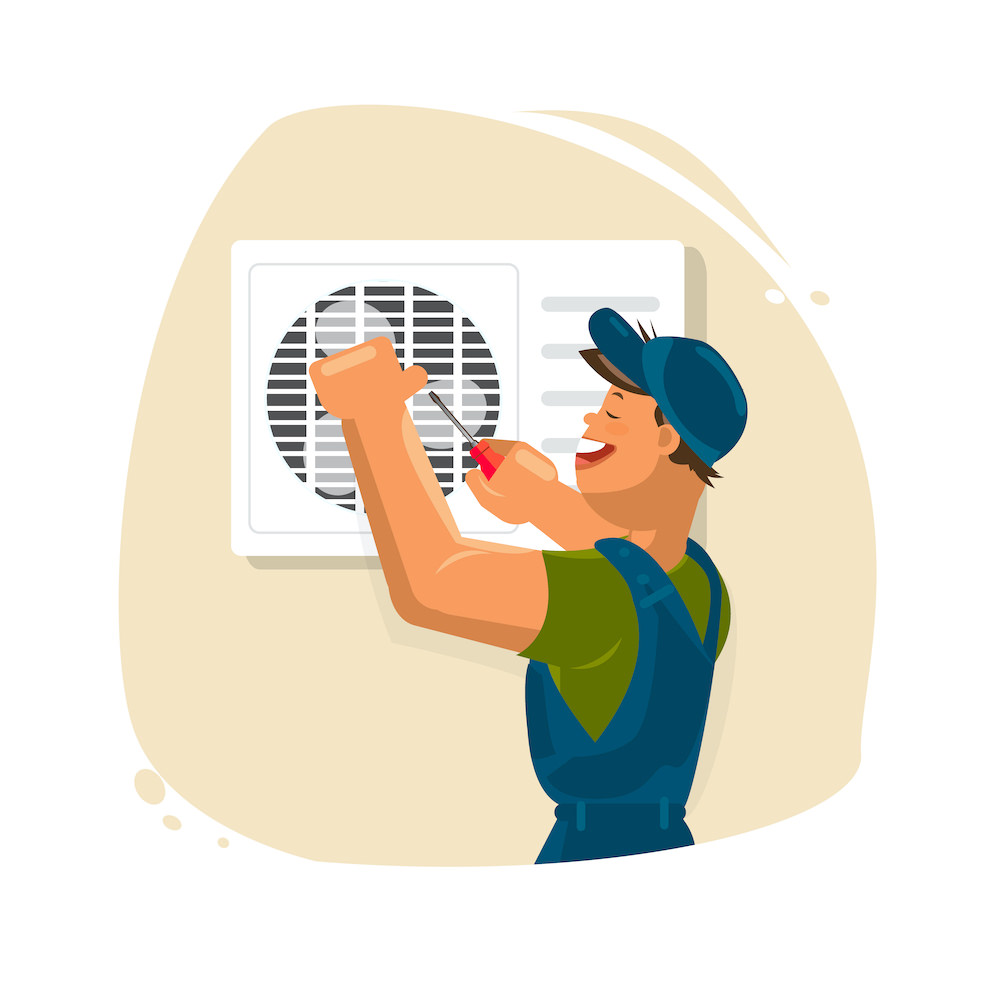 Repair of air conditioners. Maintenance and installation of cooling systems. Warranty repair and cleaning and replacement of filters. Professional Air Conditioner Repair Vector. Man Electrician Installing Air Conditioner. Flat Cartoon Illustration
